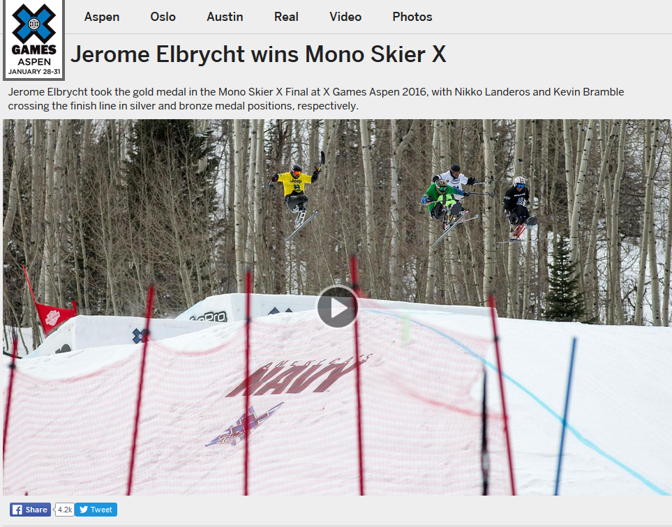 Monoski cross X Games 2016 Gold by Jérôme Elbrycht in Scarver