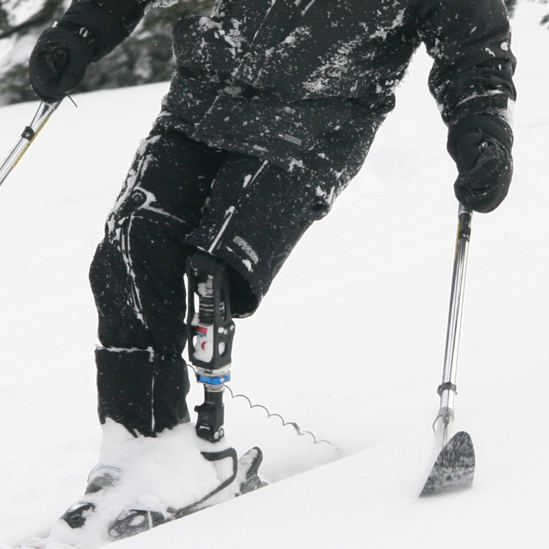 Standing skiing with Superlite Outriggers sold by TESSIER