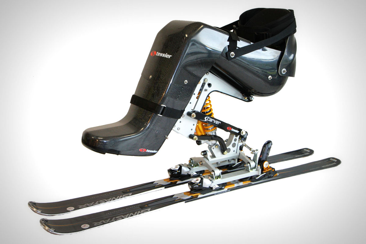 Tessier Scarver Dualski bi-ski with full carbon racing foot fairing