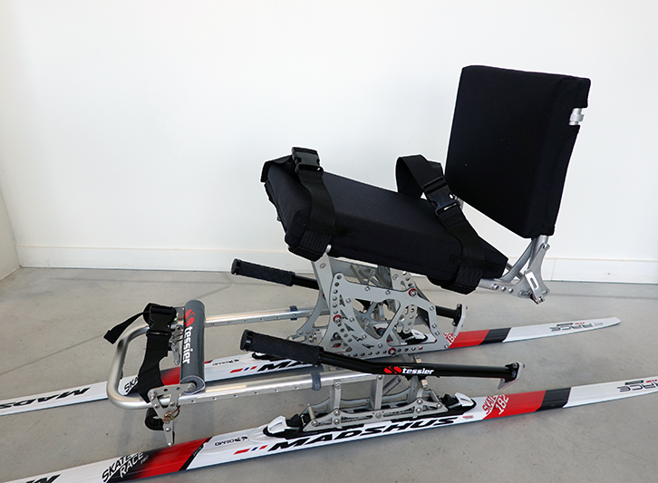 Eskaip seat for cross-country skiing for collective used
